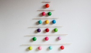 Christmas wall bauble tree