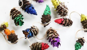 Coloured pine garland